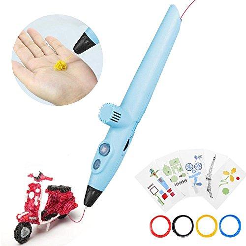 Pluma de impresión 3D, pluma de dibujo 3D, pluma de impresión 3D estereoscópica con 5 modelos de papel para la práctica, regalos y juguetes para niños y niñas