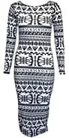 WOMENS MIDI LONG SLEEVE LADIES MAXI BLACK & WHITE MONOCHROM MAZE DESIGN/BARBIE DOLL/AZTEC PRINT BODYCON DRESS SIZE 8 10 12