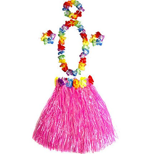 Little Sporter Hawaiian Kostüme Hawaii Tropical Hula Grass Dance Rock Grass Tanzen Rock und BH Set für Kinder Rosa 6 Teilig