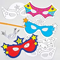 Baker Ross Super Hero Colour-In Masks (Pack Of 6) For Kids To Make & Decorate