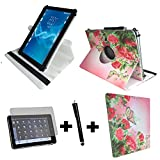 3er Starter Set für Aldi - MEDION LIFETAB P10400 (MD 99775) Tablet PC Tasche + Stylus Pen + Schutzfolie - 10.1 Zoll Schmetterling Rose 360_