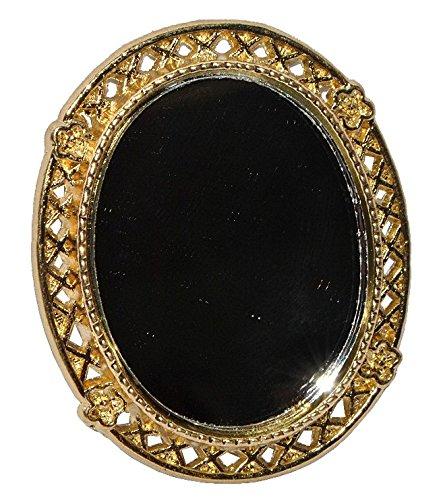 Wohnzimmer Spiegelschrank (Miniatur Spiegel oval golden - für Puppenstube Maßstab 1:12 - Nostalgie für Badezimmer Miniaturspiegel Zubehör Schlafzimmer Wohnzimmer - Diorama Badezimmer Bad - Badspiegel)