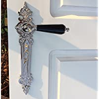 Antikas - herraje señorial para puertas interiores - juego de manillas de níquel - manillas con el mango de porcelana en el color negro