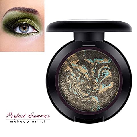 Perfect Summer Shimmer Makeup Baked Eyeshadow Palette Green Shade #007, 7g