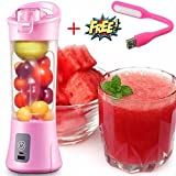 SELERTS Portable USB Juicer Blender 380ml Bottle with Rechargeable in-Built Battery & USB Cable (Multi Color)
