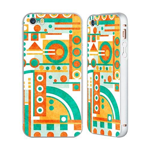Ufficiale Shelly Bremmer Sentiero Geometrico Argento Cover Contorno con Bumper in Alluminio per Apple iPhone 5 / 5s / SE Discesa