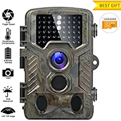 Caméra de Chasse 16MP 1080P HD Caméra Animaux de Surveillance 120°Grand Angle Imperméable IP56 Piège Photographique 20M Vision Nocturne Infrarouge 49 IR Basse Luminosité Camera de Surveillance