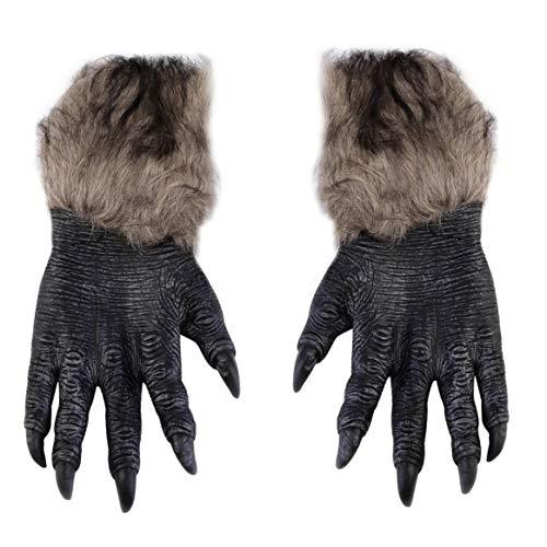 Delicacydex Halloween Werwolf Handschuhe Latex pelzigen Tier Handschuhe Wolf Krallen Halloween Prop Horror Teufel Party Club liefert Gruselige ()