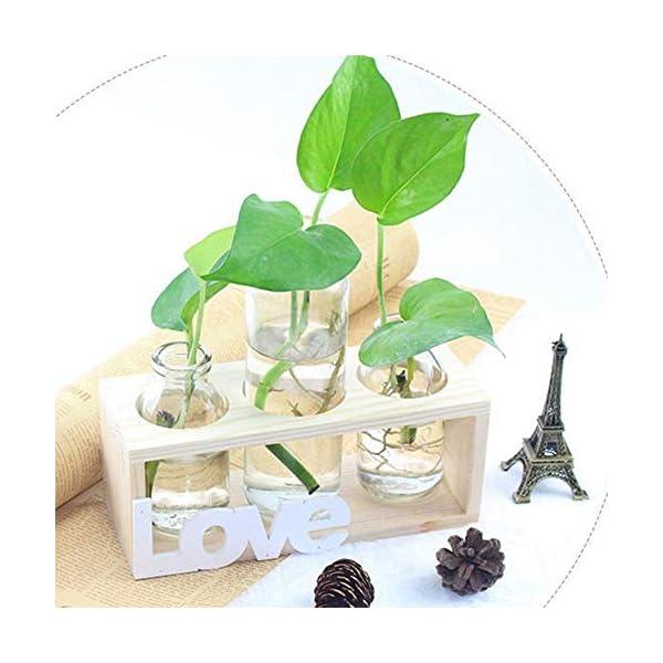 Floreros cilíndricos de vidrio, jarrón de vidrio para escritorio, bombilla con soporte de madera maciza retro para…