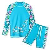 HUAANIUE Mädchen Jungen Bademode 3-14 Jahre Badeanzug~Zweiteiler Langarm 50 + UV Kinder Schwimmsportbekleidung Sonnenschutz