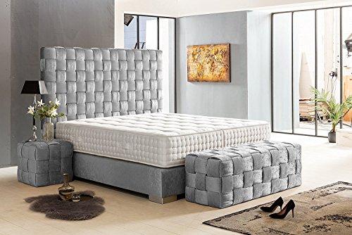 Schlichter Möbel Boxspringbett Belfast Deluxe (Grau, 200 x 200 cm)
