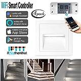 Treppenlicht Aluminium 4er LED 230V 2W Treppenhaus Licht Wandeinbauleuchte IP65 + Wifi Smart Switch,kompatibel mit Alexa/Google-Startseite/App,mit iOS/Android (Weiß Rahmen-kaltweiß, 4 pcs)