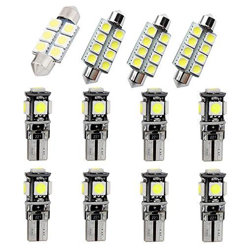 Muchkey LED Auto Lampadina Canbus Sensa Errore LED luci dell'automobile Bulb per 318 320 320i 325 335 E90 E92 LED per la Luce Interna Dell'auto Bianco 12 Pezz