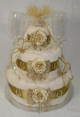 Three Tier Golden 50th Wedding Anniversary Gift Towel Cake