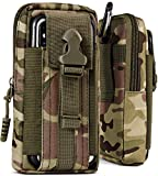 ONEFLOW® Multifunktionale Outdoor Handy-Tasche aus Oxford Nylon für alle Smartphones | Universal - mit Gürtel-Halter und Karabiner, Camo-Grün (Camouflage)
