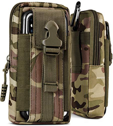 ONEFLOW® Multifunktionale Outdoor Handy-Tasche aus Oxford Nylon für Samsung A + J Reihe | Universal - mit Gürtel-Halter und Karabiner, Camo-Grün (Camouflage) -
