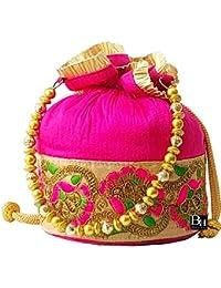 Bombay Haat Women's Magenta Potli Bag