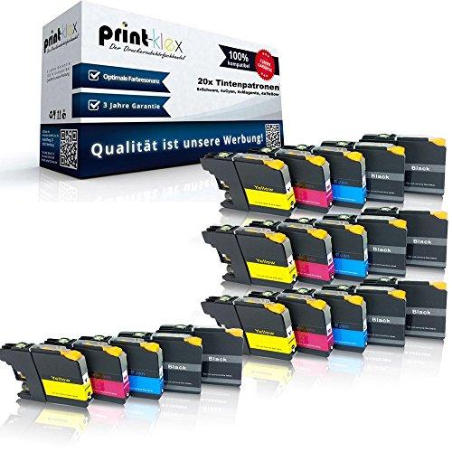 Preisvergleich Produktbild 20x kompatible Tintenpatronen für Brother LC121 LC123 MFC J245 MFC J4310 DW MFC J4410 DW MFC J4510 DW MFC J4610 DW MFC J4710 DW MFC J6520 DW MFC J6720 DW - Sparpack - Eco Office Serie