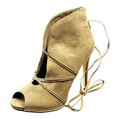 Angkorly Damen Schuhe Stiefeletten - Sexy - Offen - String Tanga Stiletto High Heel 10 cm - Khaki 628-112 T 36