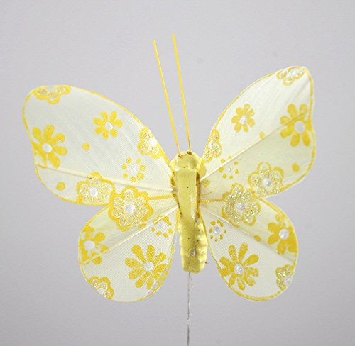 Schmetterlinge gelb Blumenstecker 12 Stück