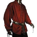 Piratenhemd mit breitem Kragen Gr. XXXL Gothic weinrot 493