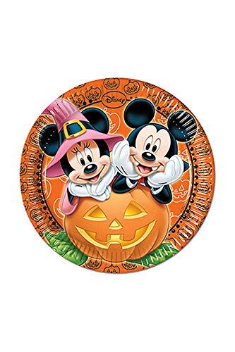Disney Pappteller für Halloween-Partys, Motiv Micky Maus, 23cm, 8Stück (Einfache Für Halloween-desserts Party)