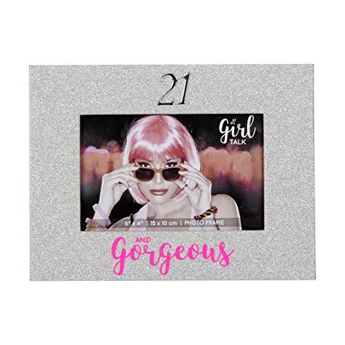21e anniversaire Argent Paillettes Cadre photo 10,2 x 15,2 cm dans une boîte cadeau