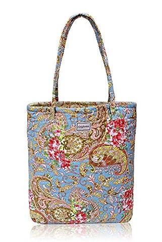 Ringarose Reversible Quilted Floral Cotton Handbag Shoulder Bag Shopper Reusable Grocery Shopping Ordinateur Portable Bag–Paisley bleu