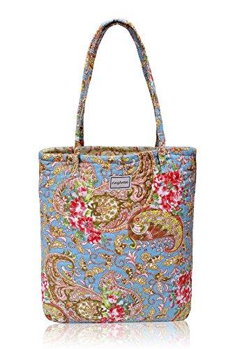 Ringarose reversibile trapuntato in cotone, motivo floreale borsa borsa a tracolla borsa per la spesa (Stampa Trapuntato Borsa)