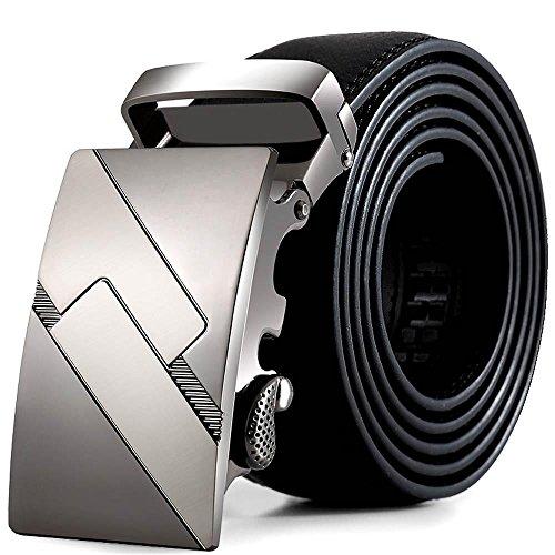 Preisvergleich Produktbild WOCACHI Herren Gürtel Männer Leder automatische Schnalle Gürtel Mode Hüftgurt Gurt Bund (Schwarz1064)