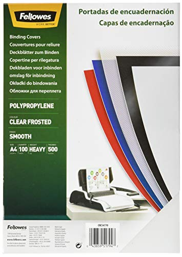 Fellowes 54770 - Portadas para encuadernar de polipropileno, A4, translúcido