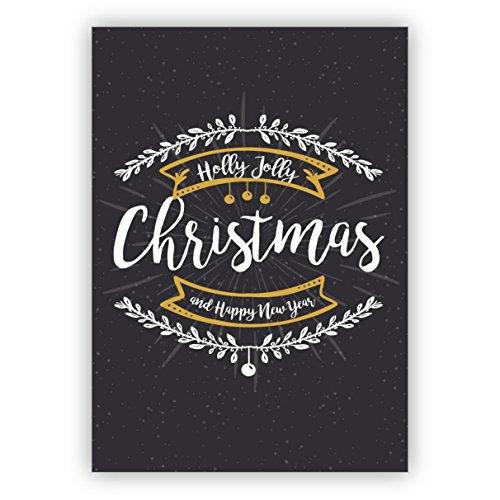 Weihnachts Klappkarten Set (4Stk) Edle graue englische Weihnachtskarte mit Ornamenten auch zu Silvester: Holly Jolly christmas and happy new year