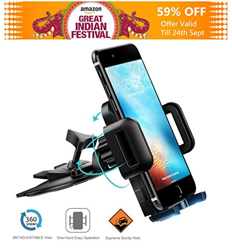 Mpow Cd Slot Car Mobile Holder ,Universal Mobile Stand for Car with Adjustable 360 Degree Rotation ,Easy Car Mount for iphone 7/7 Plus/6/6 Plus/5/5s/4 Oneplus 5/3T,Redmi 4/Mi,Vivo,Oppo,Moto,Samsung,Le