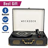 Wockoder Classic Suitcase 3-Speed Record Vinyl Turntable Player With Built In Stereo Speakers, Vintage Style Vinyl Record Player, Black