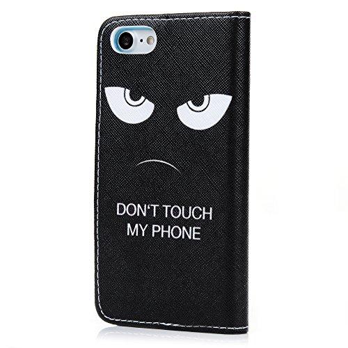 Mavis's Diary Étui iPhone 7(4.7 inch) Coque en Cuir Fleur Chat Dessin Housse Portefeuille Fente de Carte Étui à Rabat Fermeture Magnétique Flip Phone Case Cover+Chiffon motif 4