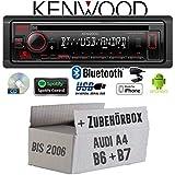 Autoradio Radio Kenwood KDC-BT430U - Bluetooth | Spotify | CD/MP3/USB - Einbauzubehör - EINBAUSET für Audi A4 B6 B7 - JUST SOUND best choice for caraudio