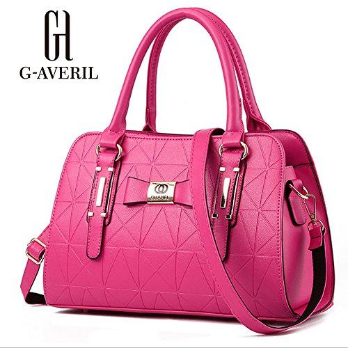 (G-AVERIL)Donne Boutique moderno ed elegante maniglia superiore borsa del messaggero della borsa della spalla del Tote casuale del lavoro Bauletto Rosso rosa rossa