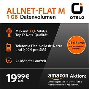 OTELO Allnet M SIM-Only Triple-SIM (SIM, Micro-SIM und Nano-SIM, 24 Monate Laufzeit, 1 GB Internet mit maximal 21,6 Mbit/s, Telefonie-Flat, 19,99 Euro)
