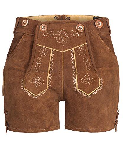 Tracht & Pracht – Damen 100% Wildleder – Trachtenlederhose Kurz Hotpants – Lederhose