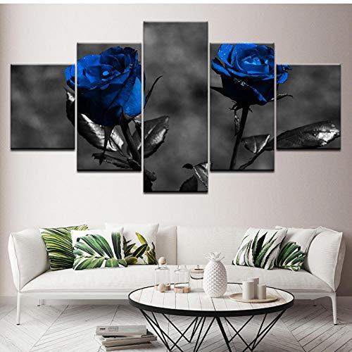 Dekor, Gerahmte Kunst (hcwxy Kunstdruck Gemälde Leinwand Poster Bilder Leinwand Modular Home HD Drucke 5 Stücke Blaue Rosen Blumen Gemälde Moderne Kunst Gerahmte Dekor Für Wohnzimmer Geschenk)