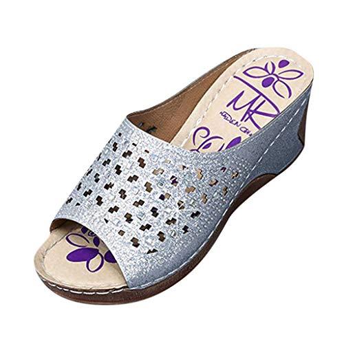 LILIHOT Sandalen Frauen Sommer Hausschuhe Sommer Wedges Bottom Sandalen Freizeitschuhe Beach Walk Schuhe Damen Sommer Flip Flops Bohemian Sandalen