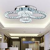 LED Kristall Deckenleuchte 60W Moderne Kreative Design LED Lampen Vier Ringe Decken Beleuchtung Schlafzimmer Kristalllampe Deckenlampe für Wohnzimmer Esszimmer Schönes Dekor Kronleuchter, 68*56*22cm , Neutralweiß