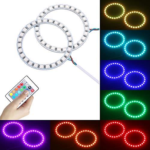 Lixada LED Multicolore RGB Angel Eyes Anello Halo SMD5050+Telecomando+Luminosità Regolabile Dimmerabile+16 Colori Modifica+Flash/Strobe / Fade/Smooth 4 Modalità Dinamiche,per Faro Auto,2 × 100MM