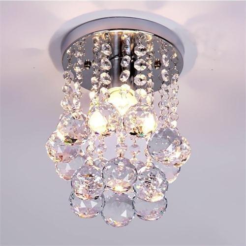 Moderna lampadario di cristallo luce di soffitto luce pendente in acciaio inox per soggiorno, camera da letto, corridoio (diametro 6,29 pollici altezza 9 pollici)