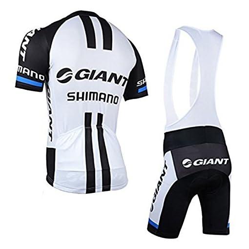 elegantstunning Outdoor Sports Pro Team–Maglia da ciclismo a manica corta Giant Shimano e salopette set-large