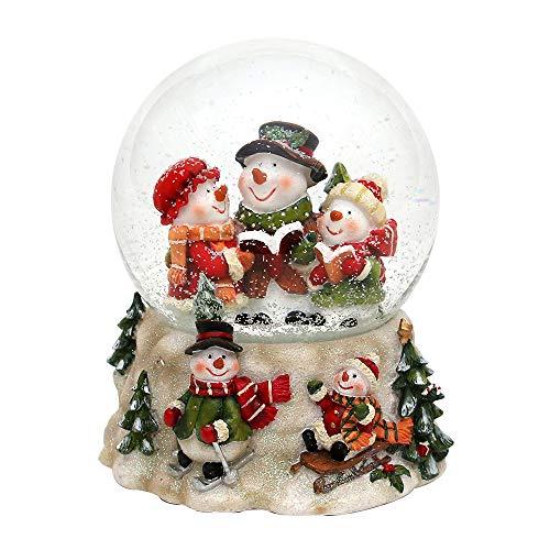SIGRO Gold Polyresin Schneekugel Schneemannfamilie auf Schneemannsockel 135 x 12 x 145 cm Ø 10 cm Spielwerk Oh du Fröhliche