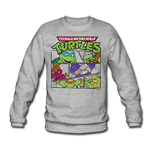 Spreadshirt TMNT Turtles Splinter Shredder Männer Pullover, M, Weißgrau meliert