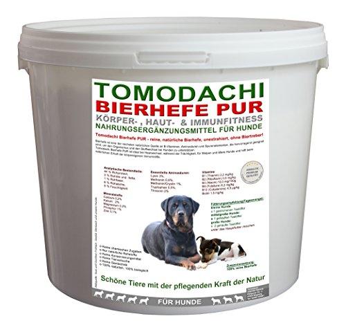 Bierhefe, BARF Zusatz Hund, 100% natürlich, unextrahiert, für Verdauung, Haut, Fell und Krallenstruktur beim Hund, reich an Biotin, Vitaminen, Aminosäuren und Mineralien, unterstützt Darmflora, Stoffwechsel und Immunsystem des Hundes, für schöne Haut, perfekt glänzendes Fell, feste Krallen, Tomodachi Bierhefe Pur, unextrahiert, 100% Bierhefe ohne Biertreber 500g Eimer