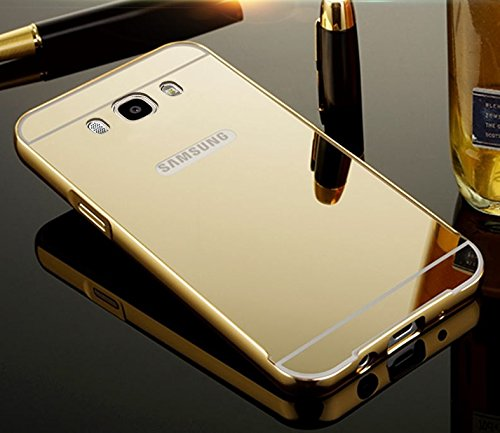 Kapa Luxury Mirror Effect Acrylic back + Bumper Case Cover for Samsung Galaxy J7 - 6 ( 2016 Edition) - Gold