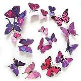 Hosaire 12x Stickers Wandaufkleber Farbig 3D Schmetterlings-Aufkleber DIY Wanddekoration Wandsticker Schlafzimmer Babyzimmer Decoration Sticker